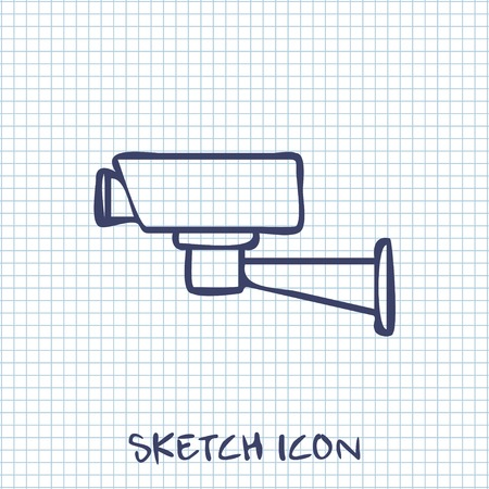 monitored area: sketch icon of security camera