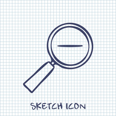 sketch out: Vector sketch icon of zoom out magnifying glass Illustration