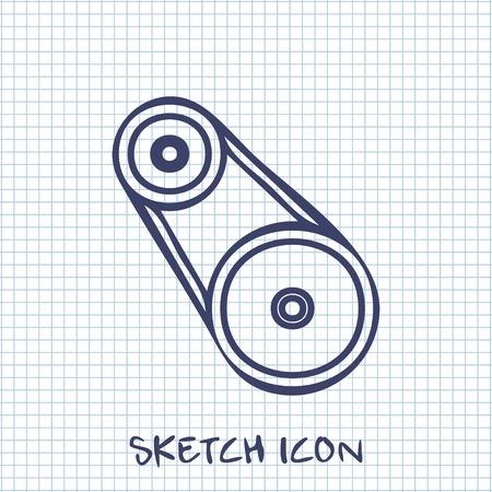 industrial belt: Vector sketch icon of belting