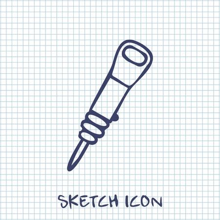jackhammer: Vector sketch icon of jackhammer
