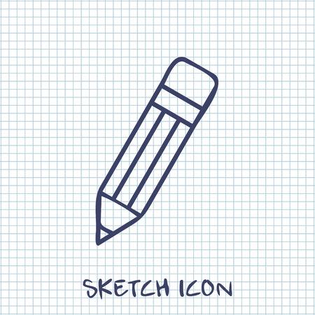 eraser mark: Vector sketch icon of pencil Illustration