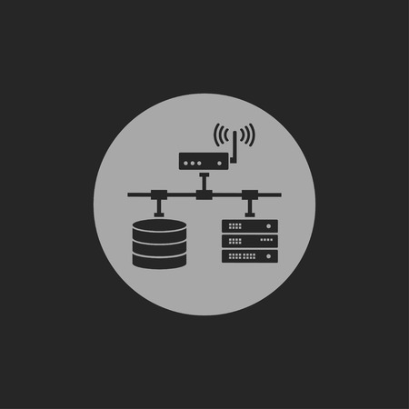 db: flat computer network with database wi-fi and server