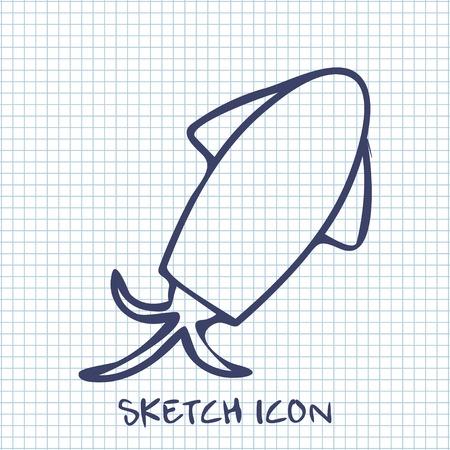 cephalopod: squid sketch icon. Food symbol