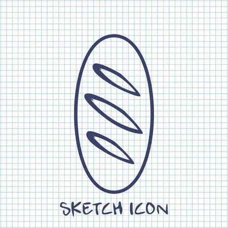 loaf: loaf sketch icon. Food symbol