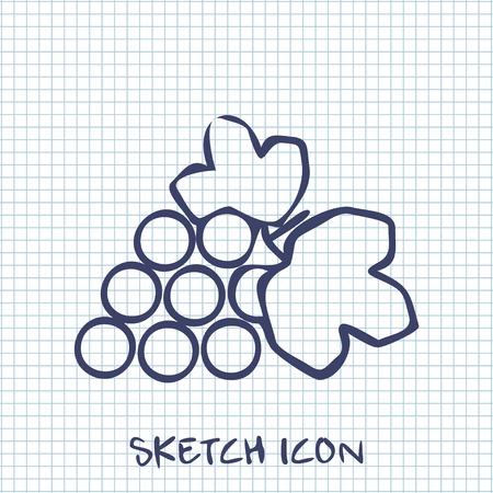 peasant household: grape sketch icon. Food symbol