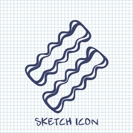 bacon strips: bacon sketch icon. Food symbol