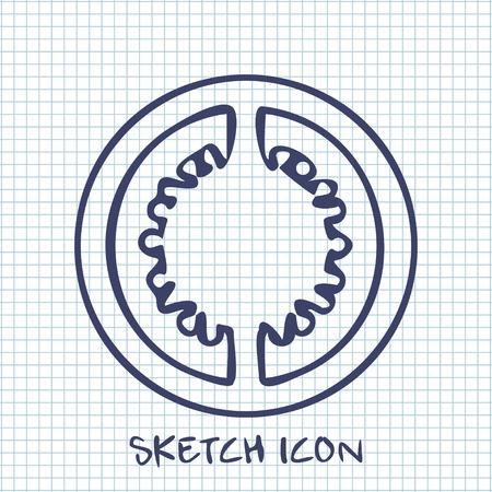 tomato slice: tomato slice sketch icon. Food symbol Illustration