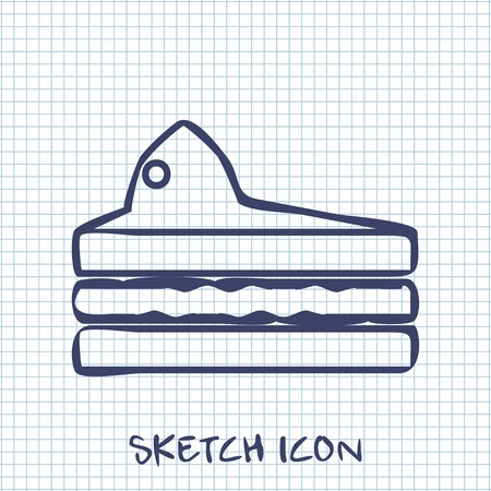 piece of cake: piece of cake sketch icon. Food symbol