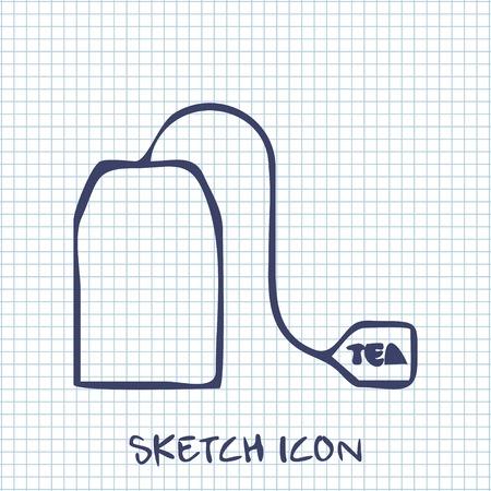 ceylon: tea bag sketch icon. Food symbol