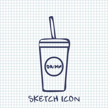 coke: drink sketch icon. Food symbol