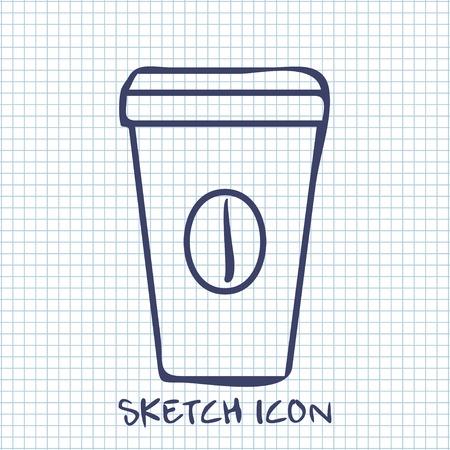 coffee cup sketch icon. Food symbol
