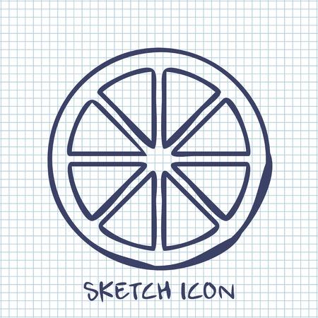 citrus: citrus sketch icon. Food symbol