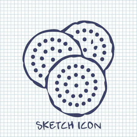 biscuits: three biscuits sketch icon. Food symbol Illustration