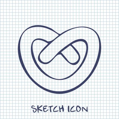 pretzel: pretzel sketch icon. Food symbol