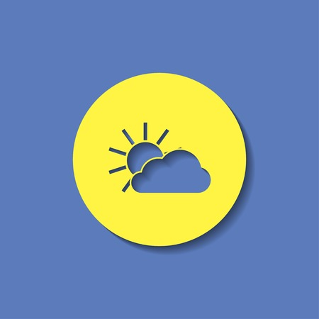 wheather forecast: vector icon of sun and cloud Illustration
