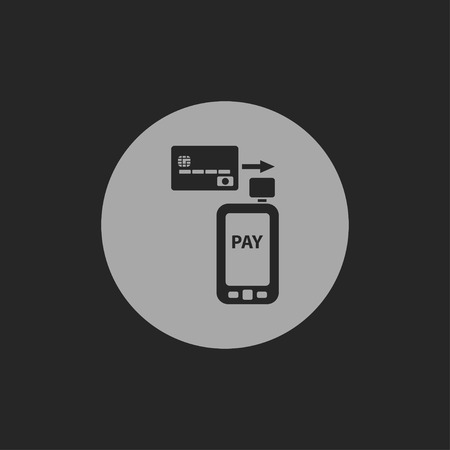 phone icon: Mobile payment. Credit card reader on smartphone scanning a credit card
