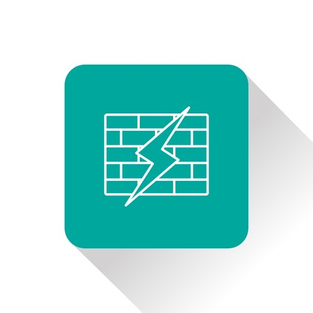 hacked: icon of broken firewall Illustration