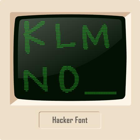 computer hacker: Font di caratteri ASCII impostato Hacker sul display del computer. Immagine vettoriale