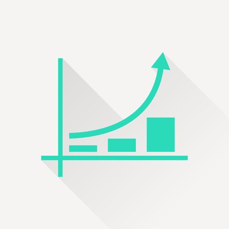 rise: Growing bars graphic icon with rising arrow Illustration