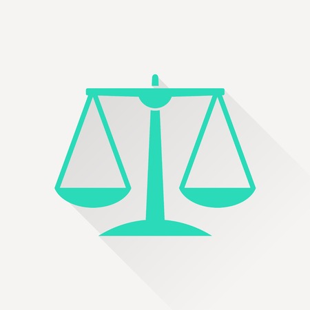 acquit: orange Justice scale icon on white background