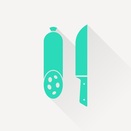 salami: icon of salami with knife Illustration
