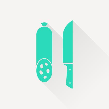 salame: icon of salami with knife Ilustra��o