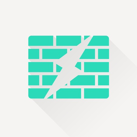 hacked: icon of firewall Illustration