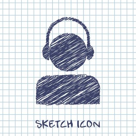 vector sketch icon of head in headphones