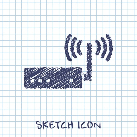adsl: vector sketch icon of router Illustration