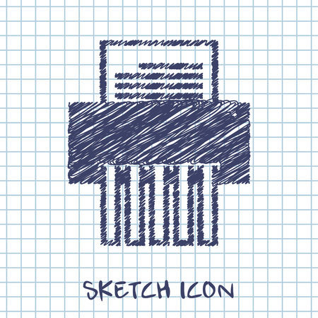 shredding: vector sketch icon of shredder