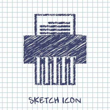 shredder machine: vector sketch icon of shredder