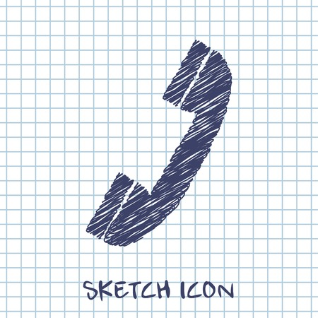 phone isolated: vector sketch icon of phone
