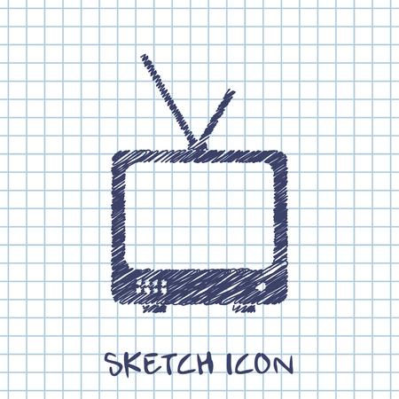 tv set: vector sketch icon of tv set