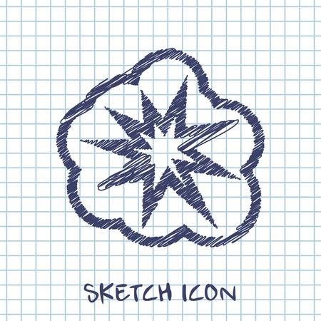 bomb price: vector sketch icon of explosion