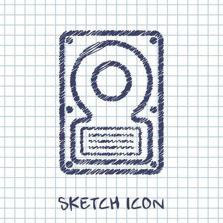 hard disk: vector sketch icon of hard disk Illustration