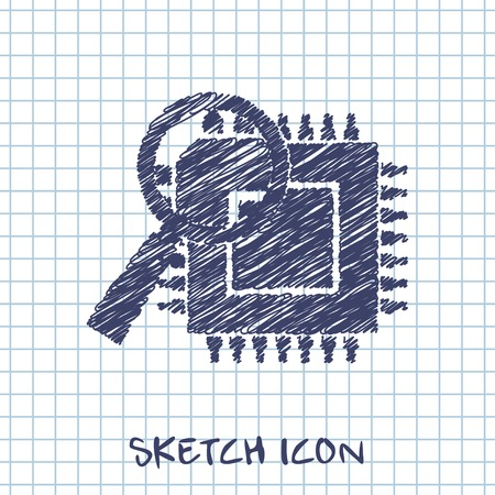 vector sketch icon of microchip discover