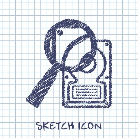 data storage device: vector sketch icon of hard disk search Illustration