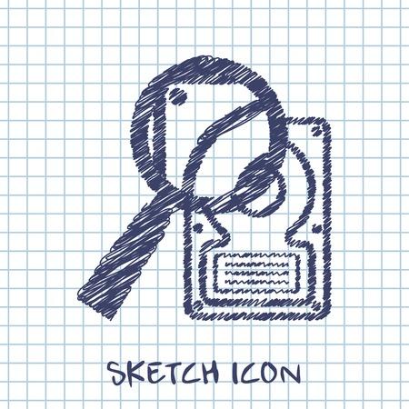 kemény: vektoros rajzot ikonját merevlemez keresés Illusztráció