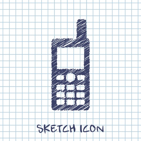 mobil: vector sketch icon of cell phone