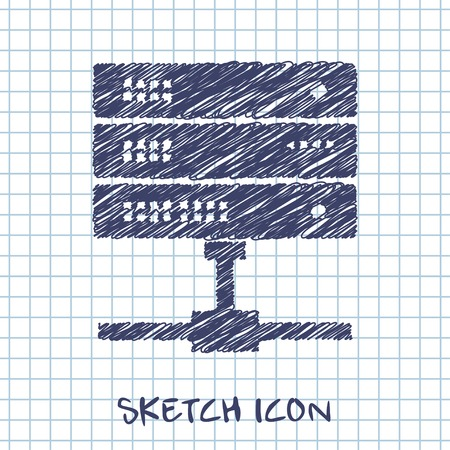 webhosting: vector sketch icon of computer server