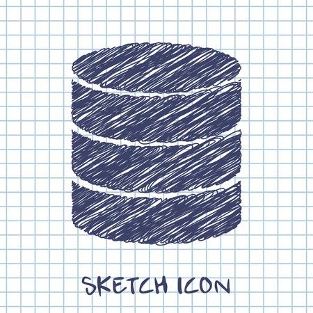 storage unit: vector sketch icon of database