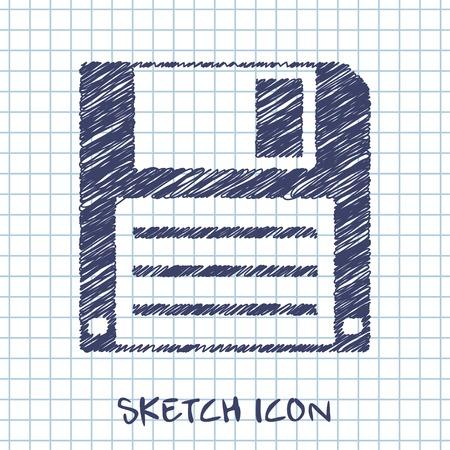 vector sketch icon of hd diskette Illustration