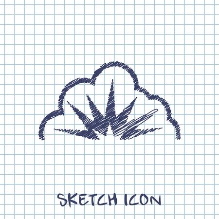 outburst: vector sketch icon of explosion