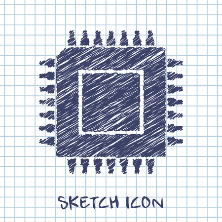 vector sketch icon of microchip Illustration