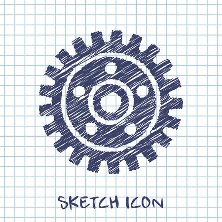 gearwheel: vector sketch icon of gear