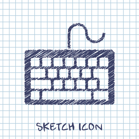 input device: vector sketch icon of keyboard