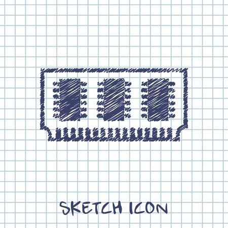 ddr: vector sketch icon of memory chip
