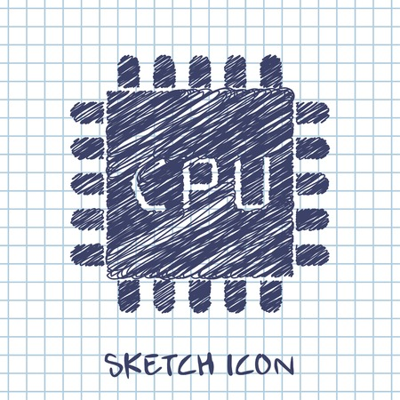 microchip: vector sketch icon of microchip Illustration