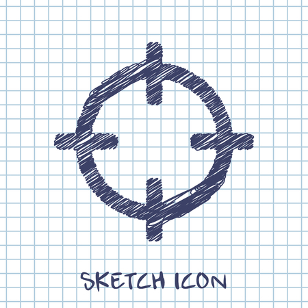 vector sketch icon of crosshair Illustration