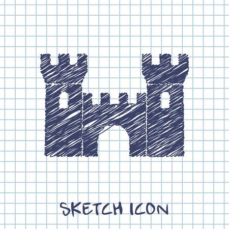 vector sketch icon of castle